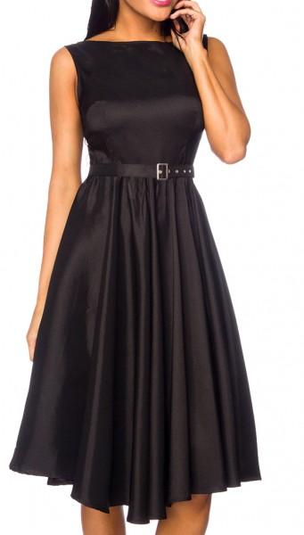 Schwarzes Damen Rockabilly Kleid mit Raffung und Gürtel Hochgeschlossen am Ausschnitt
