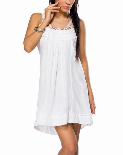 Weißes Strandkleid zum binden mit Bindeband am Rücken und Häkeleinsatz gekräuselt