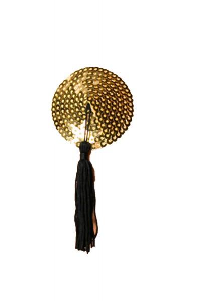 Goldene Damen Nippel Patch mit Pailletten klein verziert selbsthaftend Rund mit Quaste 2x