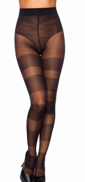 Schwarze transparente Damen Strumpfhose mit Streifenmuster und Kontrast im 10er Pack