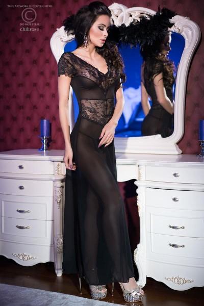 Lange Dessous Robe Morgenmantel und String in schwarz aus Tüll und Spitze Rückenschlitz transparent