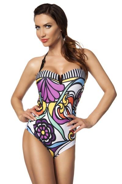 Damen Badeanzug mit Soft Cups Monokini in bunt geblümt Neckholder oder Bandeau