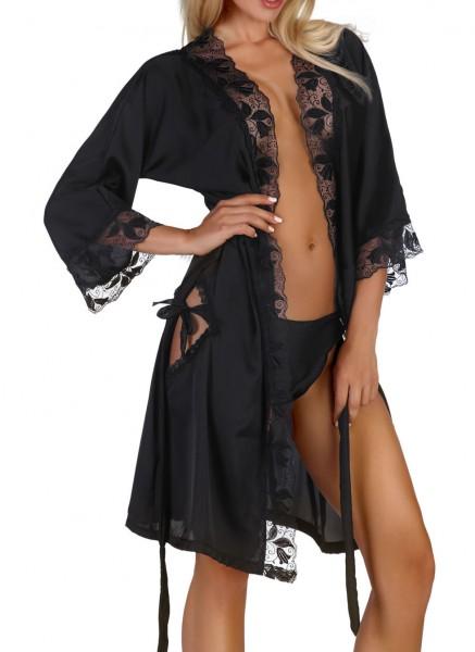 Damen Dessous Morgenmantel dreiviertel Ärmel mit String in schwarz zum binden aus Satin und Spitze K