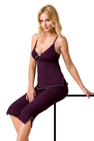 Damen Dessous Pyjama Nachthemd Top mit Hose dehnbar mit Gummibund in lila violett Schlafanzug