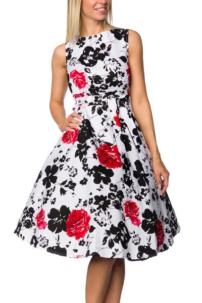 Schulterfreies Damen Vintagekleid mit weiß roten Blumen und roten Blüten im Bindeband ausgestellt XS