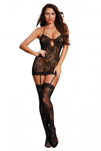 Dessous Bodysuit Damen Neckholder Body Kleid mit Strapshalter und Strümpfen schwarz gemustert OneSiz