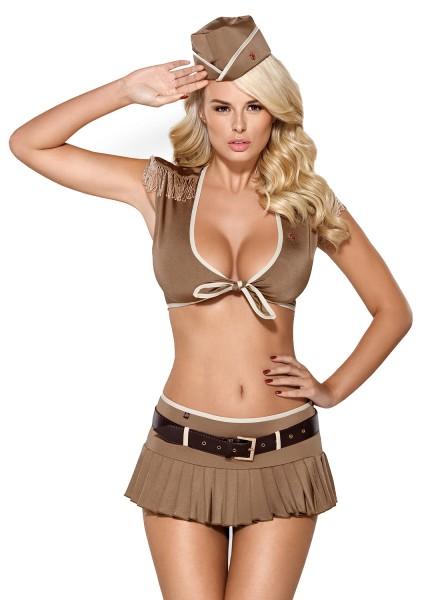 Damen Dessous Set Soldatin Kostüm erotisch Top und Rock mit Gürtel mit Armeekappe und String schimme
