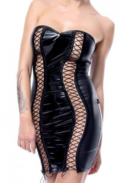 Schwarz glänzendes erotisches Damen fetisch wetlook Minikleid dehnbar mit Schnürung und Metallösen G