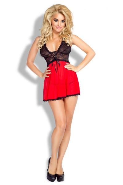 Schwarz/rotes Damen Dessous La Beauté Babydoll aus Tüll und Spitze inkl String Negligee Abendkleid