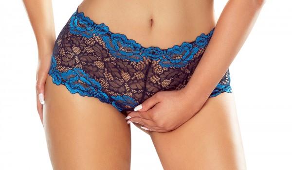 Eleganter Frauen Dessous Reizwäsche Shorty Slip Damen Höschen aus Spitze schwarz blau ouvert geblümt