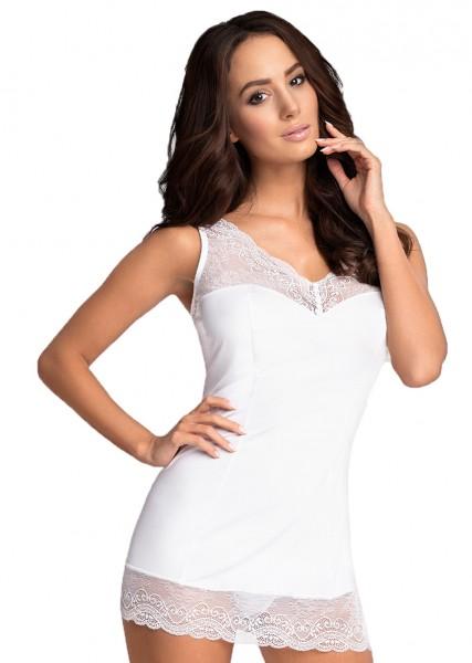 Reizwäsche Chemise Nachtkleidchen in weiß mit V-Ausschnitt, Spitze und String blickdicht Damen Nacht