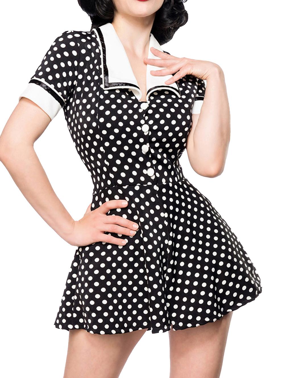 Damen Retro Hosenrock in schwarz weiß gepunktet Shorts Top ...