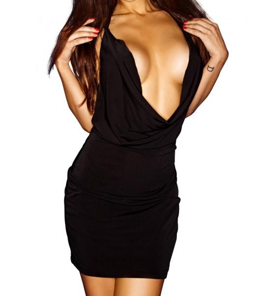 Schwarzes Damen Chemise Abendkleid mit tiefen Ausschnitt blickdicht dehnbar