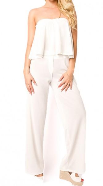 Weißes transparentes Kombi Set aus luftigem Stoff mit Bandeau Top und Hose ausgestellt