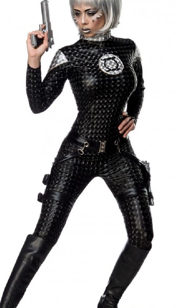 Damen Space Girl Catsuit Kostüm Verkleidung mit Overall, Holster, 2 Pistolen mit Wetlook Material in