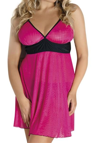 Pinkes Damen Dessous Set Chemise Nachtkleid mit Slip geschöitzt und dehnbar