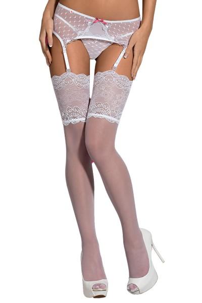 Dessous Stockings Strümpfe in weiß transparent mit floraler Spitze elastisch