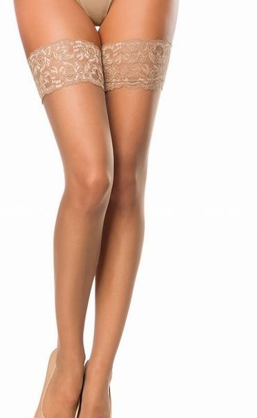 Hautfarbene halterlose Netz Strümpfe mit Spitzenabschluß und Blumenmuster Motiv Netz Stockings