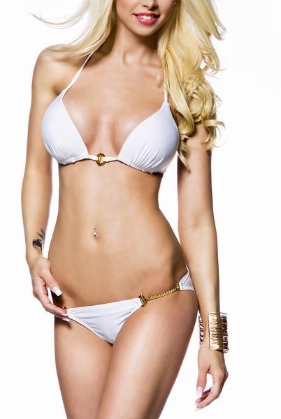 Weißer Damen Triangel Bikini mit Neckholder Bindung und goldenen Ketten am Höschen