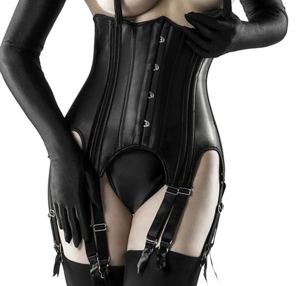 Schwarze Unterbrustcorsage in Lederoptik mit 12 Bändern und Schnürung sowie Strapsbänder String und