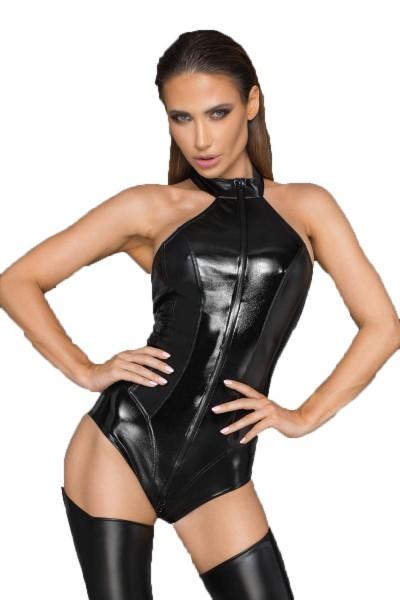 Frauen Dessous Neckholder Body aus Wetlook Material und lackiertem Kunstleder mit Reißverschluss Gog