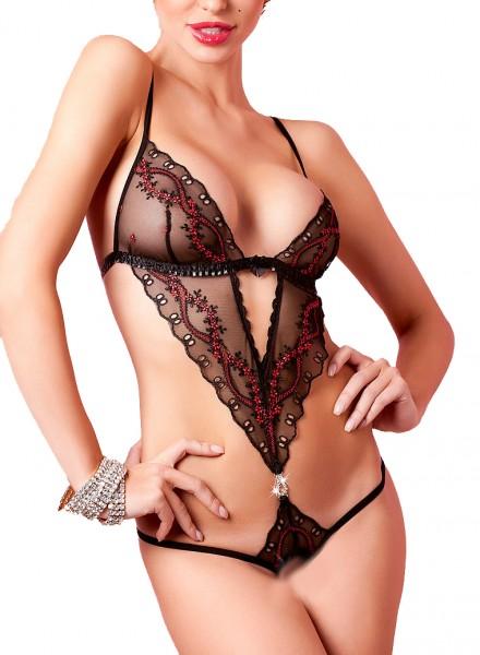 Schwarzer Damen String Body transparent mit V-Ausschnitt ouvert und Stickereien Rückenfrei