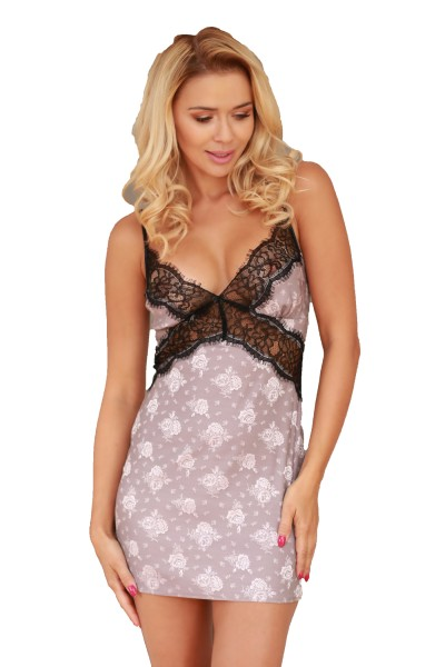 Damen Nachtkleid Hemdchen Negligee aus Satin und Spitze rosa schwarz erotisch