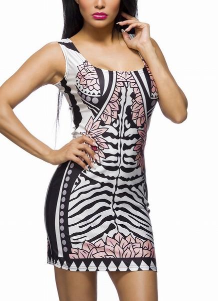 Kurzes Partykleid mit schwarz weißen Zebra Muster und Blumenmotiv runder Ausschnitt