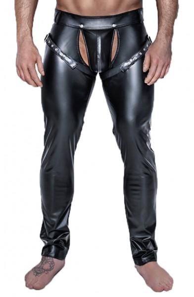 Schwarze Herren wetlook fetisch Hose mit verstellbaren Bändern Männer Pants dehnbar