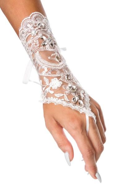 Weiße kurze Fingerlose Armstulpen transparent aus Spitze mit Schnürung und Fingerschlaufe