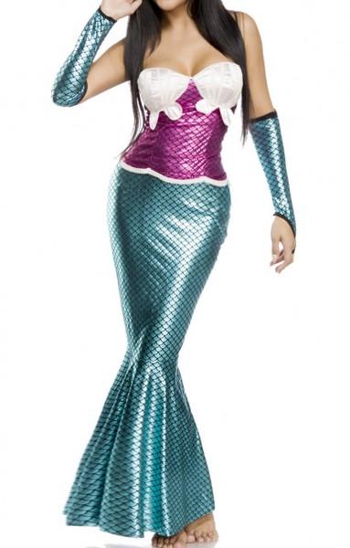 Damen Meerjungfrau Outfit Kostüm aus Pinkem Top mit Fischflosse Metallic Rock und Armstulpen und Mus