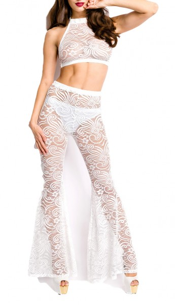 Weißes transparentes Cami Set aus Spitze mit Neckholder Top und Hose Dessous Set