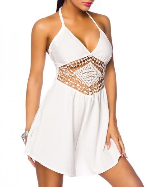 Damen Jumpsuit Strandkleid mit Häkelbesatz und Spitze Sommerkleid Neckholder mit Reißverschluss in w