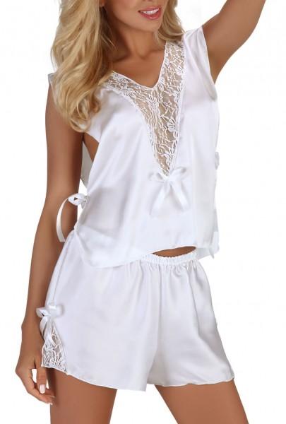 Damen Dessous Morgentop ohne Ärmel mit Shorts in weiß zum binden aus Satin und Spitze Nachtwäsche Se