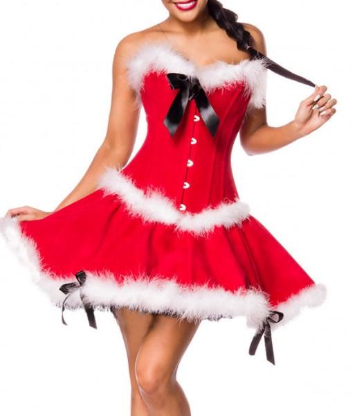 Weihnachtsfrau Set mit Corsage und Rock in rot aus feinem Samt mit Schleifen