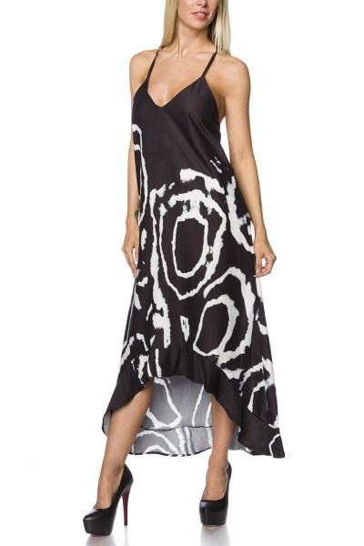 Luftiges Maxikleid mit Batik Print in schwarz weiß Neckholder Kleid Sommerkleid lang mit Träger