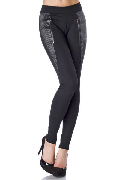 Elegante schwarze Damen Hose figurbentont mit Biesenbesatz Leggings mit Musterung weich elastisch