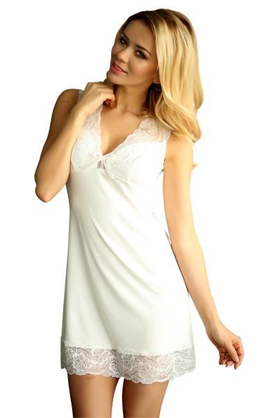 Damen Dessous Nachtkleid blickdicht mit Spitze Mini-Kleid Nachthemd in weiß