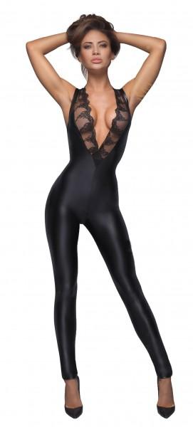 Damen erotischer fetisch wetlook Overall in schwarz mit Spitze und Zwei Wege Reißverschluss ärmellos