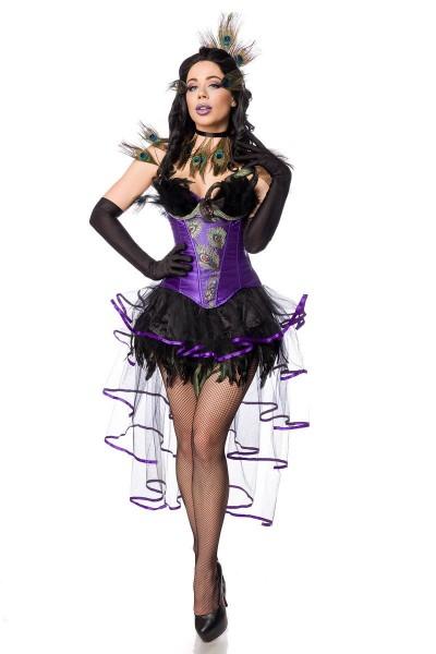 Pfau Verkleidung Outfit Corsage in lila mit Volant-Rock und Pfaufedern sowie Schnürung Handschuhe Bu