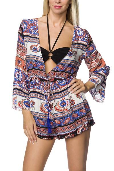 Damen Playsuit Hosenrock mit bunten Print Anzug Jumpsuit langärmlig mit V-Ausschnitt