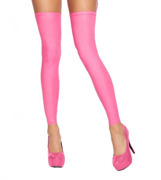 Pinke Damen Dessous wetlook Strümpfe Stockings mit Schnürung