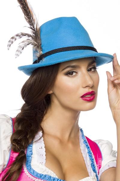 Blauer Damen Filzhut Trachtenhut mit Kordel und Federn Oktoberfest Verkleidung