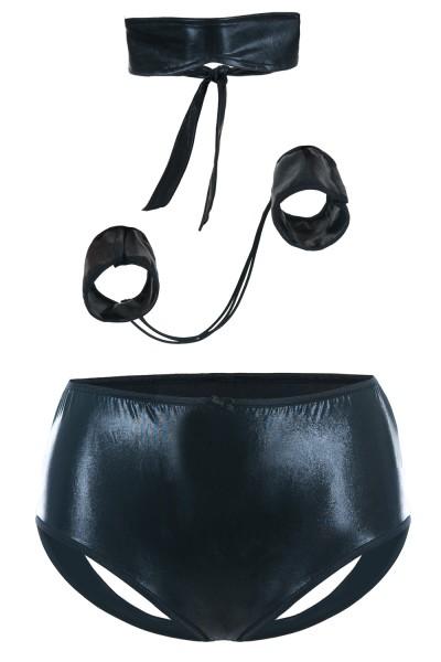 Schwarzes Wetlook Fessel Set mit Augenbinde aus ouvert Panty und Armfesseln und Fesseln Damen Neglig