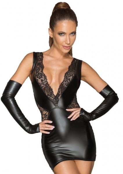 Damen wetlook Spitzenminikleid mit tiefem Ausschnitt und Reißverschluss hnten erotisches Abendkleid