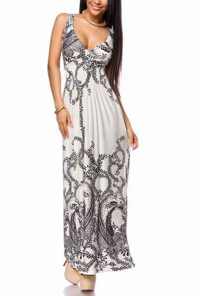 Weißes langes Damen Sommerkleid mit Paisleymuster und eingearbeiteten Cups gesmokt