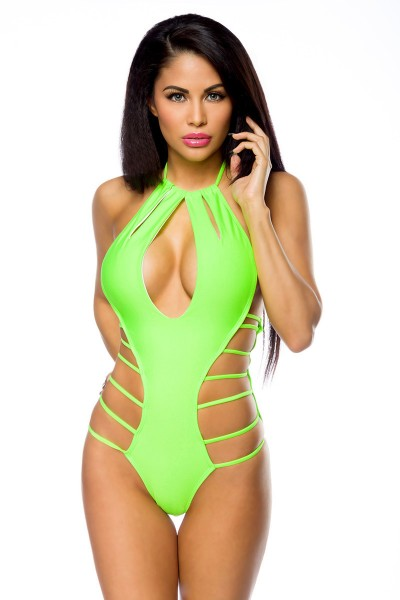 Damen Monokini Neckholder Badeanzug in neongrün mit Zierelementen zum binden