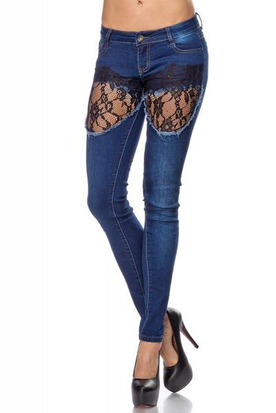 Blaue Damen Jeans mit Strass und Spitzeneinsätzen Five-Pocket-Style Röhrenjeans