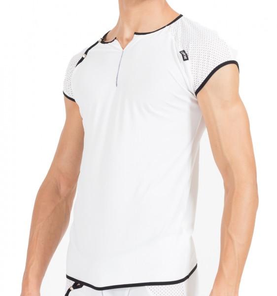 Weiß/schwarzes Herren V-Shirt dehnbar, luftig und weich Herren Shirt mit Druckknöpfe