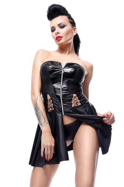 Schwarzes Damen wetlook fetisch Gogo Kleid mit Reißverschluss Kleid mit String schulterfrei